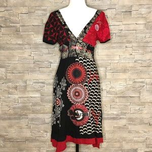 Desigual black and red v-neck v-back dress